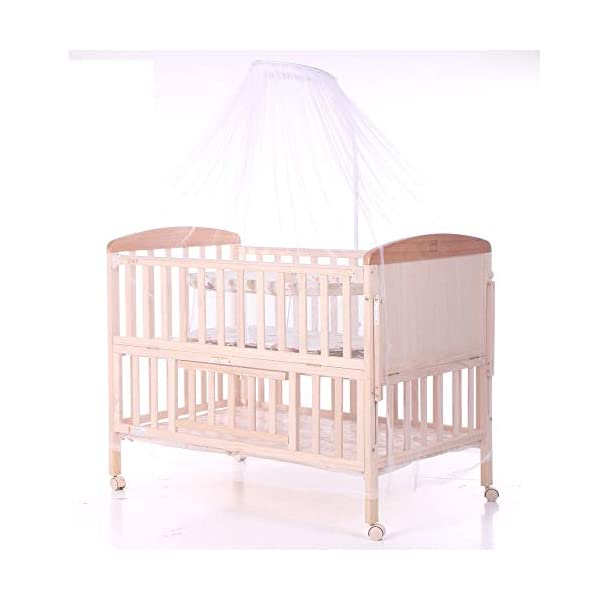 QINYUN Crib Solid Wood Without Paint Multi-functional Baby Bed Game Bed QINYUN 1. This portable crib is made of sturdy pine wood with a beautiful, non-toxic appearance, with a hard hat and locking wheel that can be converted from a crib to a baby fence with one hand. 2. Soft and encrypted mosquito net, strong and not decoupled, providing a comfortable sleeping environment for your baby The mattress attached to the cradle is gently shaken to sleep every night. 3