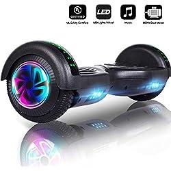 jolege Overboard - Enfant Cadeau préféré, Bluetooth & LED lumière 6.5 Pouces, Balance Board Scooter Électrique Auto - équilibrage (Noir)