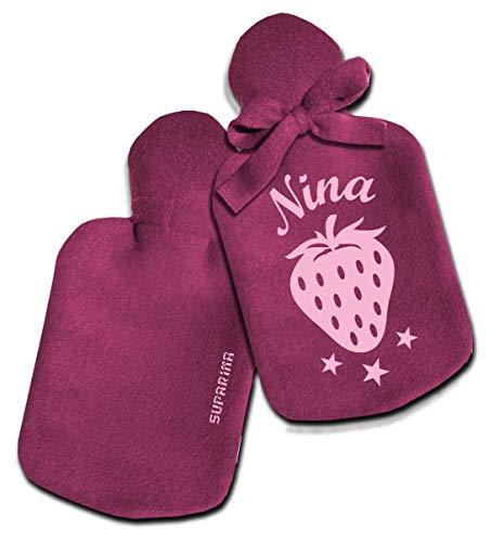 SupaRina Wärmflaschen-Bezug mit Namen und Motiv Erdbeere Strawberry Rosa Pink personalisiert, Farben und Motiv nach Wahl, befüllbar kalt oder warm, weicher Fleece, 28x16 cm, auch mit Flasche 0,8 l (Rosa Personalisierte Flasche)