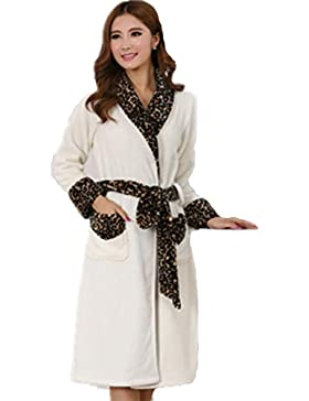 DMMSS Donne addensare flanella camicia da notte lunga - manica Autunno e Inverno pigiama Corallo cachemire accappatoio...