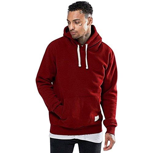 MIRRAY Herren Winter Solide Fleece Pocket Hoodie warmes Sweatshirt Outwear Pullover ()