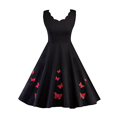 FEIRAN Vintage Kleid Frauen Sommer Backless Stickerei Ärmellose Knielangen A-Line Frauen Vintage Kleider Red L -