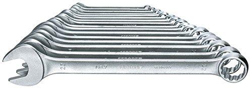 Preisvergleich Produktbild GEDORE 7-017 Ring-Maulschlüssel-Satz, DIN 3113 Form A, leicht durch schlankes Maul und schmale Maulwände, ergonomisch und handlich, Ring 15° abgewinkelt, matt Verchromt, 17-tlg UD-Profil 6-22 mm