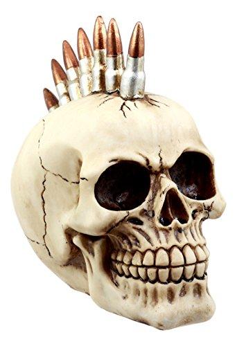 Ebros Geschenk Rebel Bullet Mohawk Punk Totenkopf Figur 7,5'Lang Militär Gewehr Munition Skelett Kopf Statue -