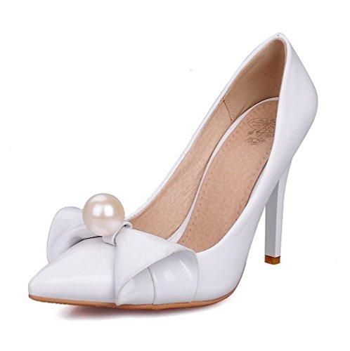VogueZone009 Femme à Talon Haut Mosaïque Tire Verni Pointu Chaussures Légeres Blanc