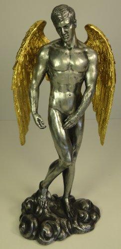 Unbekannt 27,9cm männlicher Akt Schutzengel geflügelten Skulptur Statue Zinn und Gold Farbe
