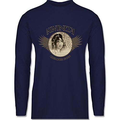 Shirtracer Vintage - Awinita - Cherokee Mädchen - Herren Langarmshirt Navy Blau
