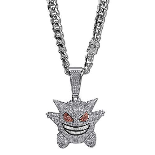 Männer Hip Hop Große Pokemon Maske Gengar Anhänger Halskette Zirkon Bling EIS Kette Schmuck Rapper Geschenk,Silver (Pokemon Gengar Kostüm)