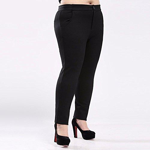 Fashion Casual Hosen, elastische, Anbau Hose, Herbst Outfit, XL Frauen, Fett MM, 4XL, schwarz