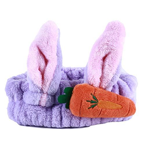 (LWANFEI Nette Karotte Kaninchenohren Haarbänder Make-Up Gesicht Waschen Elastisches Haarband Headwrap Zubehör für Frauen, Lila)