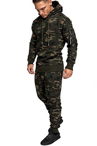 Amaci&Sons Herren Kontrast Sportanzug Jogginganzug Trainingsanzug Sporthose+Jacke 1006 Camouflage Khaki L