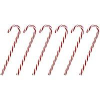 OULII Centelleo Candy Cane Navidad Lawn Stakes Pathway marcadores para el árbol de Navidad Decoración del Partido 6pcs