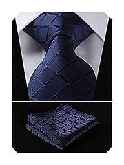 Idea Regalo - HISDERN Dai un'occhiata Cravatta da sposa Fazzoletto Cravatta da uomo & Pocket Square Set blu navy