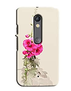 Blue Throat White And Pink Flower Printed Designer Back Cover/Case For Motorola Moto X Play