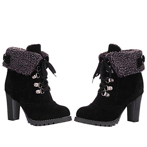 Damen Stiefel Schnürsenkel Ankle Boots Freizeitschuhe Kurzschaft Blockabsatz Winter Warm Elegant Schick Schwarz