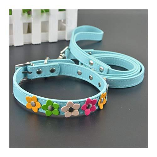 XIAOLANGTIAN Eine Reihe Blume Besetzt Hundehalsband Leder Schnalle Welpen Hund Katze Halsband Leine Lead Set, Blue Set, XS