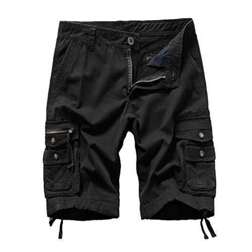 Xmiral Shorts Herren Reißverschluss Overall Streifen Kurze Hose Mit Taschen (3XL, Schwarz) (Flanell-hose Graue)