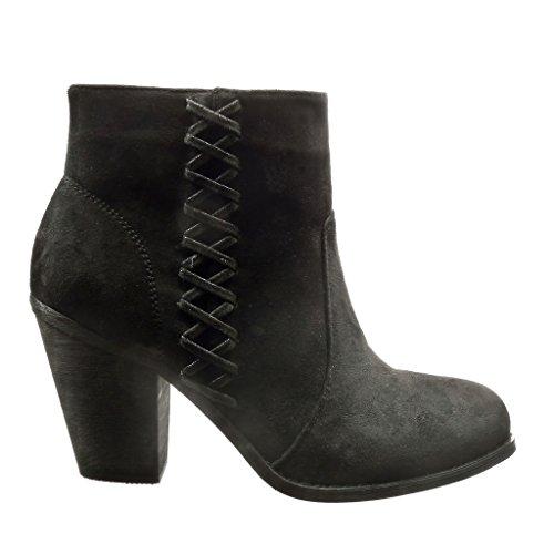 Angkorly - damen Schuhe Stiefeletten - Reitstiefel - Kavalier - Spitze Blockabsatz high heel 8 CM Schwarz