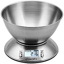 Etekcity EK4150 Báscula Digital para Cocina con Tazón Removible , 11 lbs / 5 kg, Acero Inoxidable, con Bol de Mezcla, Retroiluminación Blanca, Alarma y Sensor de Temperatura, Gris