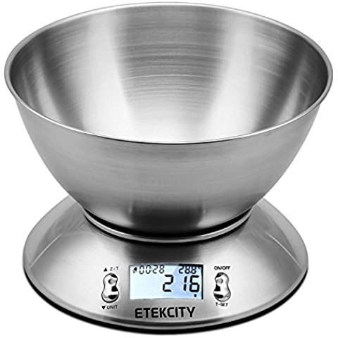 Etekcity Bilancia da Cucina Elettronica in Acciaio Inossidabile 5kg/ 11lb,Ciotola