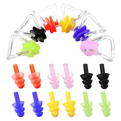 SUPVOX Nasenklammer und Schwimm Ohrstöpsel Set Silikon Ohrenstöpsel Nase Clip Schwimmen Nase Plug Swim Nasenschutz für Schwimmen mit Box 6 Stücke