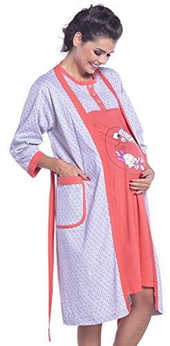 Zeta Ville - Maternité Set Robe de chambre Chemise de nuit à pois - femme - 202c Corail