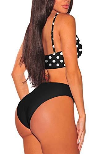 Viottiset Damen Bikini Set High Waist Badeanzug mit Verstellbar Träger - 3