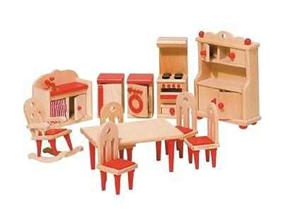 Goki 51951 - Cocina, 11 piezas, muebles para casa de muñecas por Goki