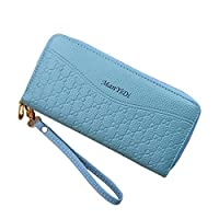 RUISSEN Women Purse Phone Wallet for Ladies Two Zippers Closure Cash Compartment Coin Pocket PU Leather (Blue)
