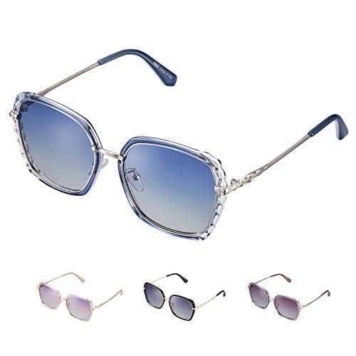 rezi Sonnenbrillen, Polarisierte Sonnenbrillen Damen, UV400-Schutz, Quadratische Vintage Sonnenbrillen, Wellenähnlicher Musterrahmen, Pink/Blau/Lila/Schwarz
