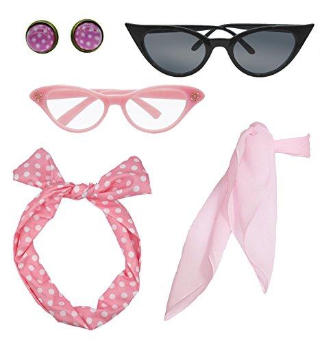 olka Dot Style Schal Brille Stirnband und Ohrringe Kostüm Zubehör Set ()