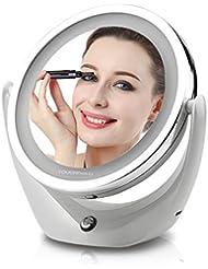 TOUCHBeauty® TB-1276 LED Miroir de Maquillage Lumineux Rechargeable (Grossissant X1 et X5) Double Face Rotatif à 360' avec câble USB