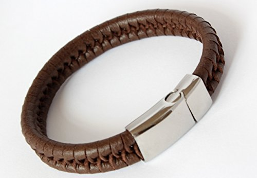 GRANADA MEN'S PERSONALISED BROWN LEATHER BRACELET FREE ENGRAVING - with NAMES, BIRTHDAY etc - GIFT BOXED