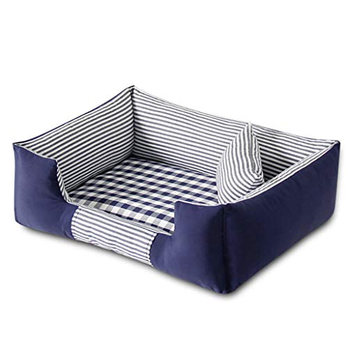 Haustier-Kisten-Bett-Haustier-Bett-Maschinen-waschbare vier Jahreszeiten verfügbares rechteckiges breathable (M-Art 72 * 52 Cm) 3 Farben vorhanden (Farbe : Blau)