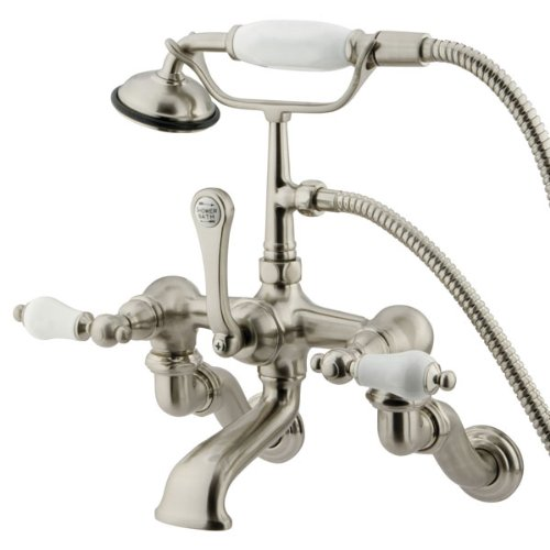 Kingston Brass CC459T8 Vintage Wall Mount 7-Inch Spread Tub Filler with Hand Shower, Satin Nickel by Kingston Brass Elite Wall Mount