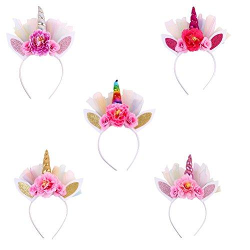 (Frcolor 5pcs Einhorn Haarreif mit Ohren Einhorn Horn Stirnband Glitzer Blumen Haarreif Mädchen (Rose Rot Gold Rosa Mehrfarbig Silber))
