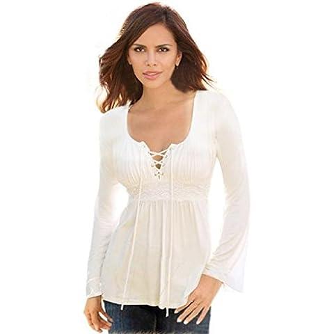 FEITONG Mujeres Algodón atractivas Suelta de manga larga Las tapas ocasionales de la blusa 6