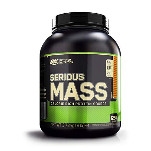 Optimum Nutrition Serious Mass Weight Gainer (mit Kohlenhydrate, Whey Eiweißmischung Pulver, Vitaminen, Kreatin und Glutamin, Protein Shake von ON) Banana, 8 Portionen, 2,73kg