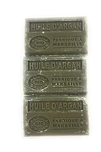 Label Provence, Lot de 3 savons de Marseille BIO à l'huile d'argan - Parfum Huile d'argan