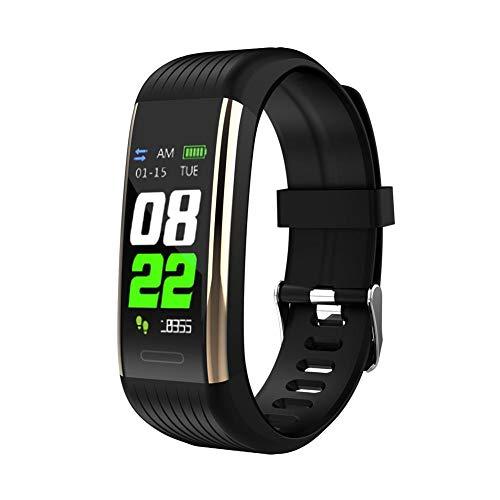 FGHKMJHB Sport Smart Band Fitness Tracker Herzfrequenz Blutdruck-Sauerstoffmessgerät IP67 Smart Bracelet Call Reminder Gesundheitsuhren, Gold