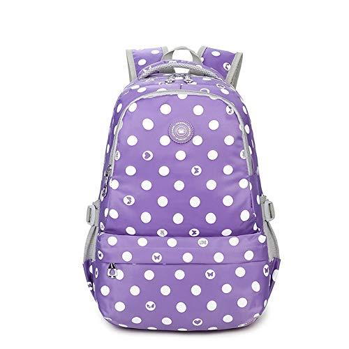 Rosa Junior Handtaschen (WWAVE Grundschule Junior High School Student Schultasche einfach Mode Welle Punkt Print Rucksack)