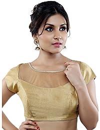 Studio Shringaar Boat Neck Solid Cotton Gold Wedding Blouse