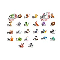 Ogquaton Colourful Animal Alphabet ABC Kids Wall Decals Wall Stickers Peel and Stick Removable Wall Stickers for Kids Nursery Bedroom Living Room