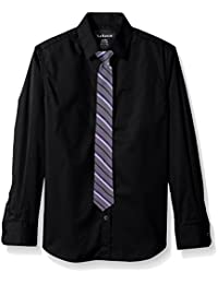 Van Heusen Big Boys' Long Sleeve Solid Stretch Shirt with Tie