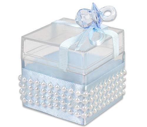 Vetrineinrete® scatoline portaconfetti 36 pezzi nascita battesimo scatole per confetti bomboniere segnaposto in plastica plexiglass trasparenti decorate con ciuccio celeste per neonato bimbo 86335 d41
