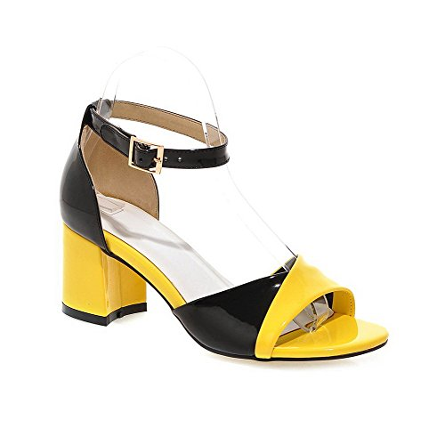 agoolar-womens-open-toe-buckle-pu-assorted-color-kitten-heels-sandals-yellow-42