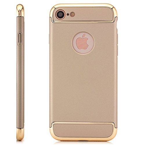 Saxonia iPhone 8 / 7 Hülle Case Cover Ultra TPU Slim Backcover Schale + Rahmen mit extra Kantenschutz Rot Gold