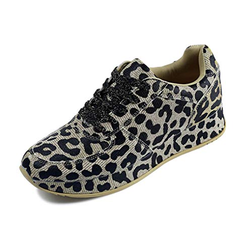 Zapatos Casuales para Mujer Zapatillas de Deporte de Primavera y otoño Cordón Estampado de Leopardo Costura Astilla Dorada Zapatillas Bajas para Caminar Diariamente