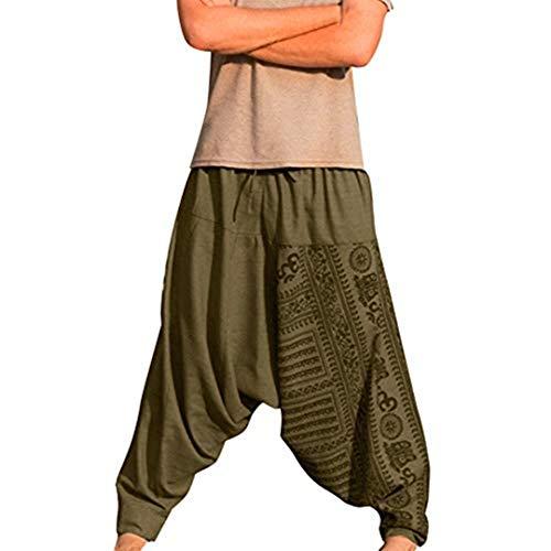 KPILP Haremshose Männer Hippie Kleidung Pumphose Aladinhose Pants Pluderhose Freizeithose Retro Drucken Yoga Hose Jogginghose Sporthosen Fitness
