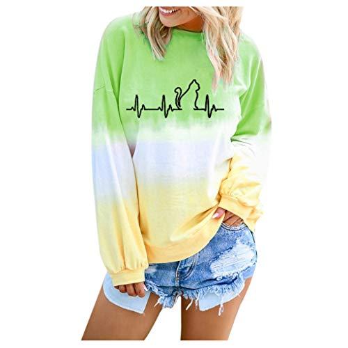 BIKETAFUWY Damen Langarmshirt Rundhals Lange Ärmel T-Shirt Oberteile Beiläufig Tunika Farbblock Farbverlauf Pullover Bluse Tops Gedruckt Gradient Hemd Sweatshirt -